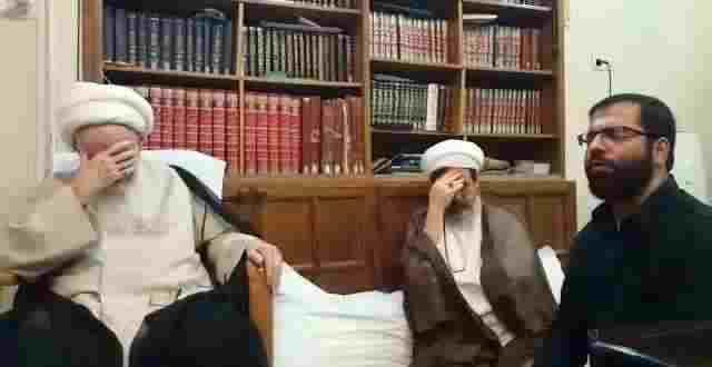 روضه حاج حسین سیب سرخی در محضر آیت الله العظمی صافی+ویدئو